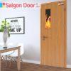 Cửa gỗ chống cháy SGD-P1G1 phong phú về màu sắc.
