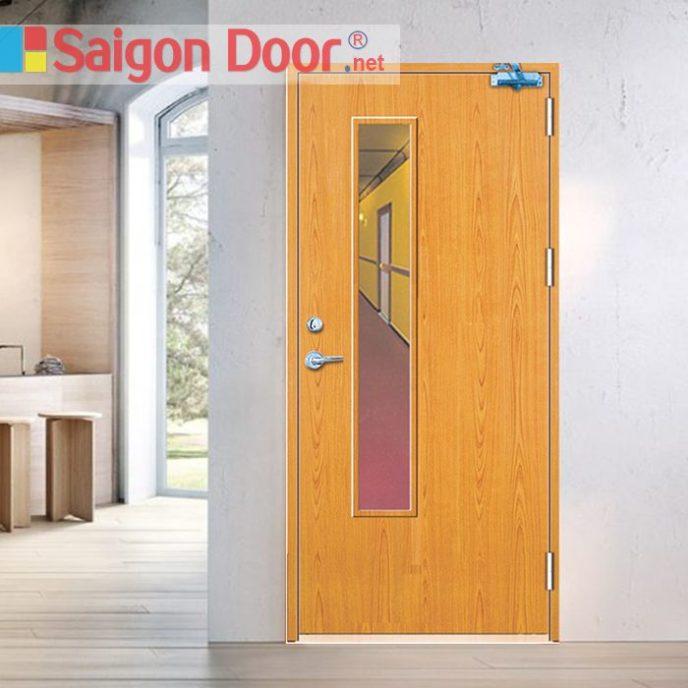Cửa gỗ chống cháy SGD-P1GL phong phú về màu sắc.