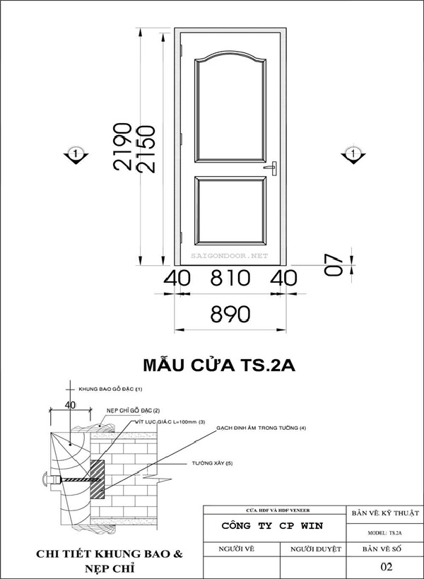 Mẫu cửa gỗ HDF và cửa gỗ HDF Veneer SG.2A