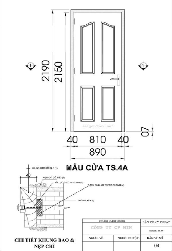 Mẫu cửa gỗ công nghiệp SG.4A