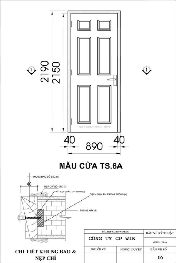 Mẫu cửa gỗ SG.6A