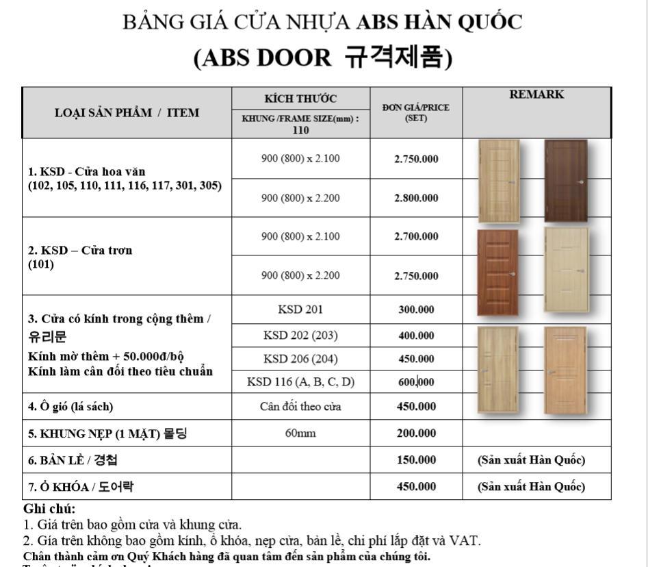 Bảng báo giá cửa nhựa Hàn Quốc ABS