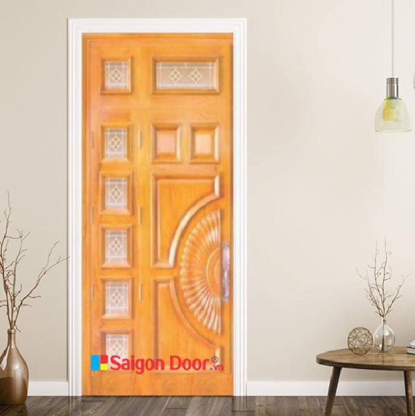 Mẫu cửa gỗ phòng ngủ sang trọng, màu sắc tươi sáng, thích hợp cho những ngôi nhà có màu tường là tông màu nhạt