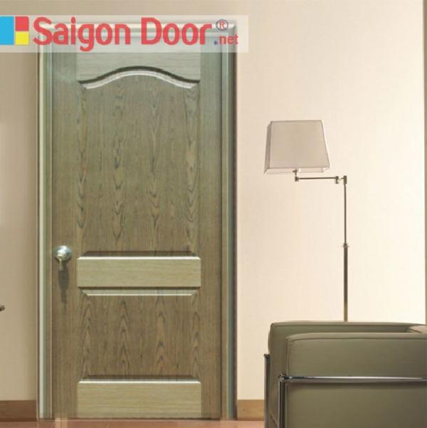 Mẫu cửa phòng ngủ bằng gỗ công nghiệp HDF Veneer có màu sắc và thiết kế mới lạ, độc đáo