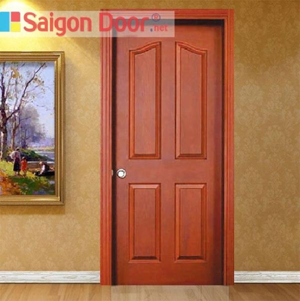 Mẫu cửa HDF Veneer cho phòng ngủ có màu sắc bắt mắt, thiết kế đơn giản, phù hợp cho mọi công trình nhà ở