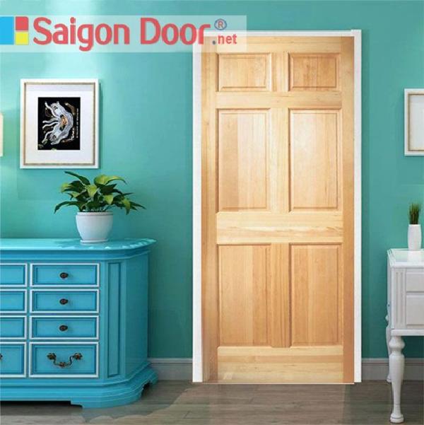 Mẫu cửa gỗ tự nhiên thiết kế đơn giản, phù hợp làm cửa phòng ngủ của nhiều công trình nhà ở khác nhau