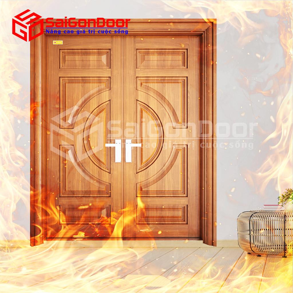 Cửa thép vân gỗ ngăn cháy cho biệt thự