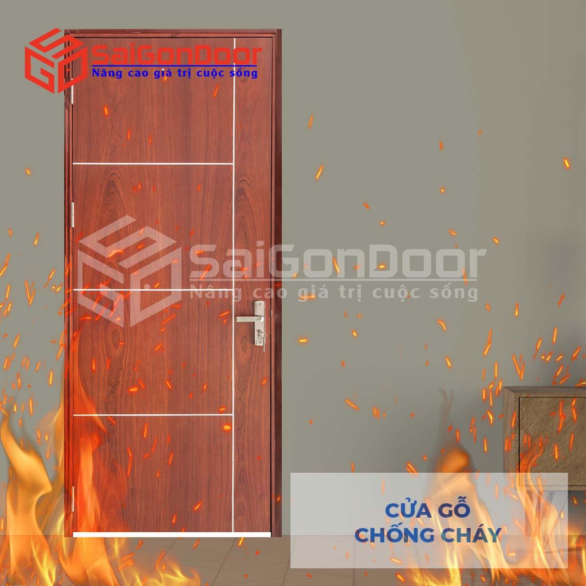 Cửa gỗ công nghiệp MDF kết hợp khả năng chống cháy cho phòng ngủ