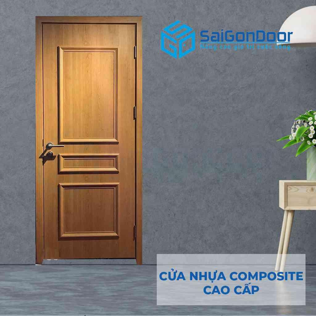 Cửa nhựa Composite cao cấp chạy phào chỉ nổi dùng làm cửa phòng ngủ