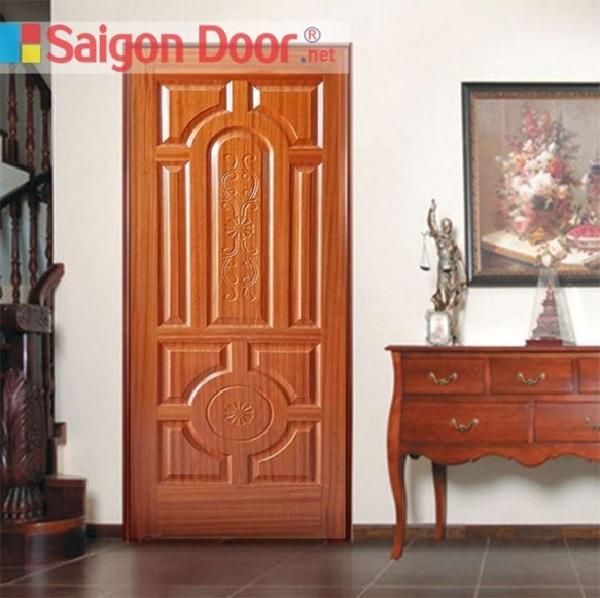 Mẫu cửa gỗ HDF Veneer xoan đào với hoa văn được thiết kế tinh tế, tỉ mỉ