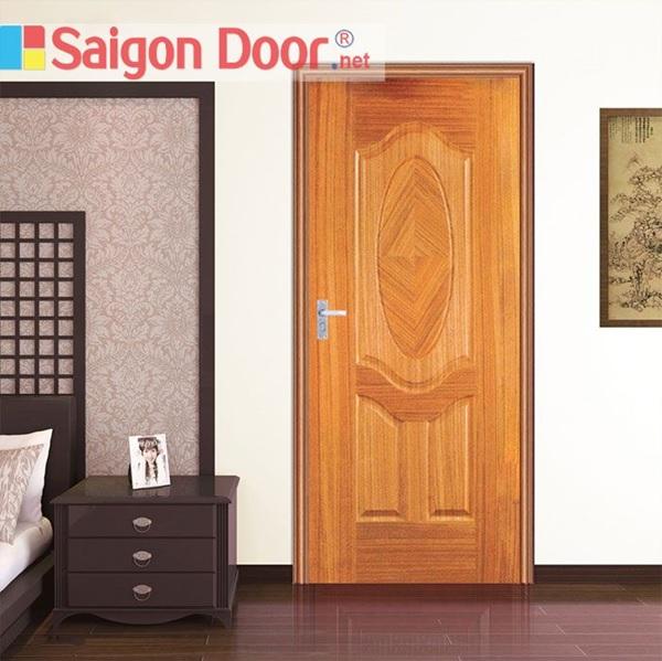 Mẫu cửa phòng ngủ màu nâu cánh gián bằng gỗ tự nhiên sang trọng