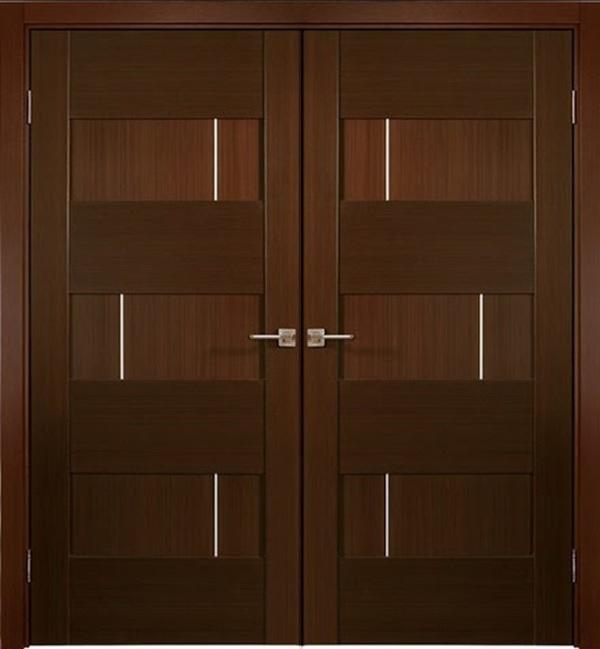 Mẫu cửa gỗ tự nhiên 2 cánh màu nâu đậm thiết kế đơn giản nhưng rất sang trọng