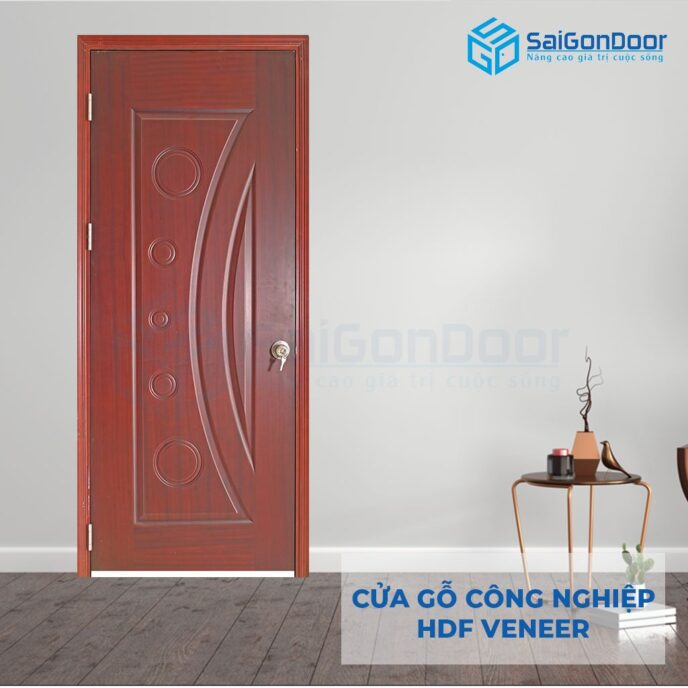 Cửa gỗ công nghiệp HDF Veneer 1K-xoan dap
