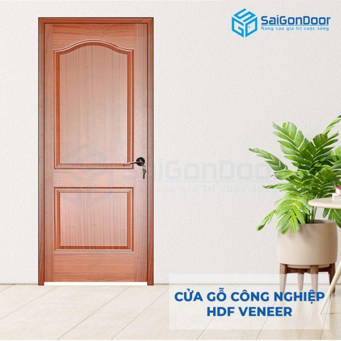 Cửa gỗ công nghiệp HDF Veneer 2A-xoan dao