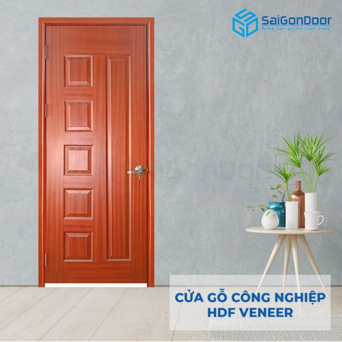 Cửa gỗ công nghiệp HDF Veneer 6B-Sapele