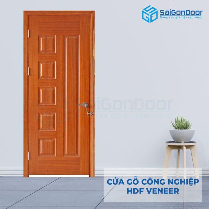 Cửa gỗ công nghiệp HDF Veneer 6B xoan dao