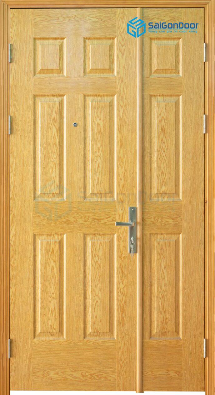 Cửa gỗ công nghiệp HDF Veneer 9A ash 2 canh nho lon