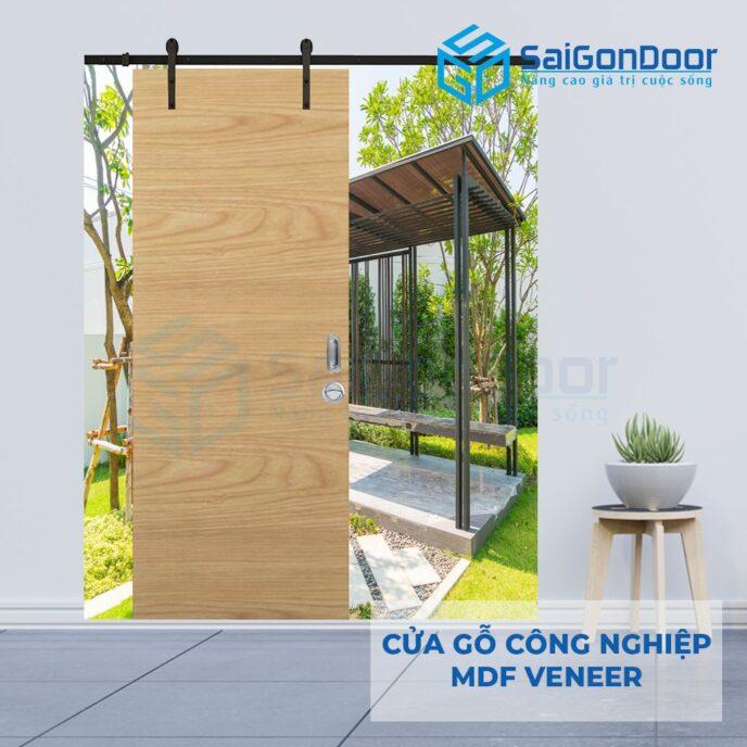 Cửa gỗ công nghiệp MDF Veneer lua truot treo ray