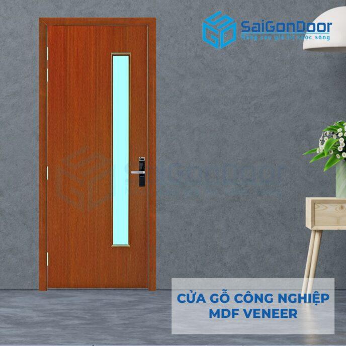 Cửa gỗ công nghiệp MDF Veneer P1G1 xoan dao