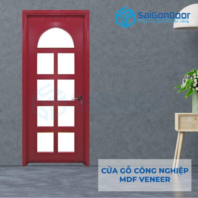 Cửa gỗ công nghiệp MDF Veneer P1G9 mau do