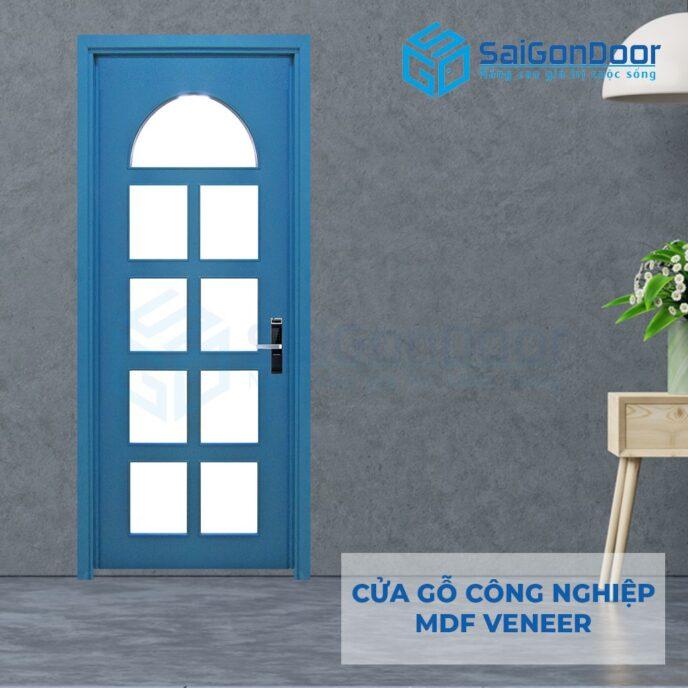 Cửa gỗ công nghiệp MDF Veneer P1G9 xanh da troi 2