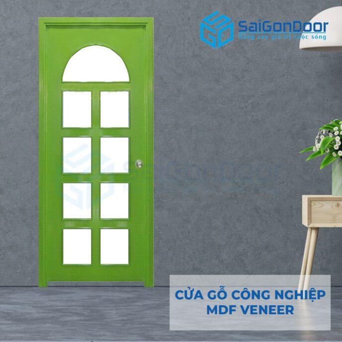 Cửa gỗ công nghiệp MDF Veneer P1G9 xanh la