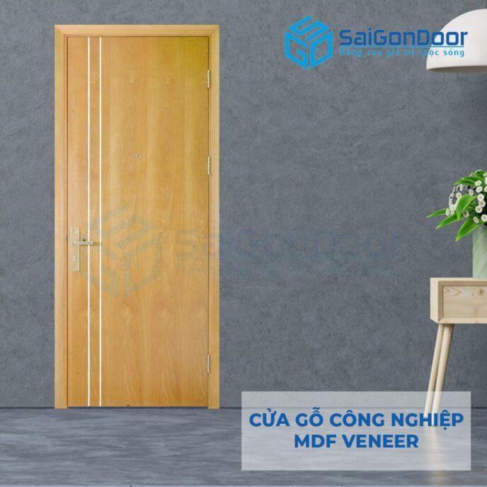 Cửa gỗ công nghiệp MDF Veneer P1R2 ash 2