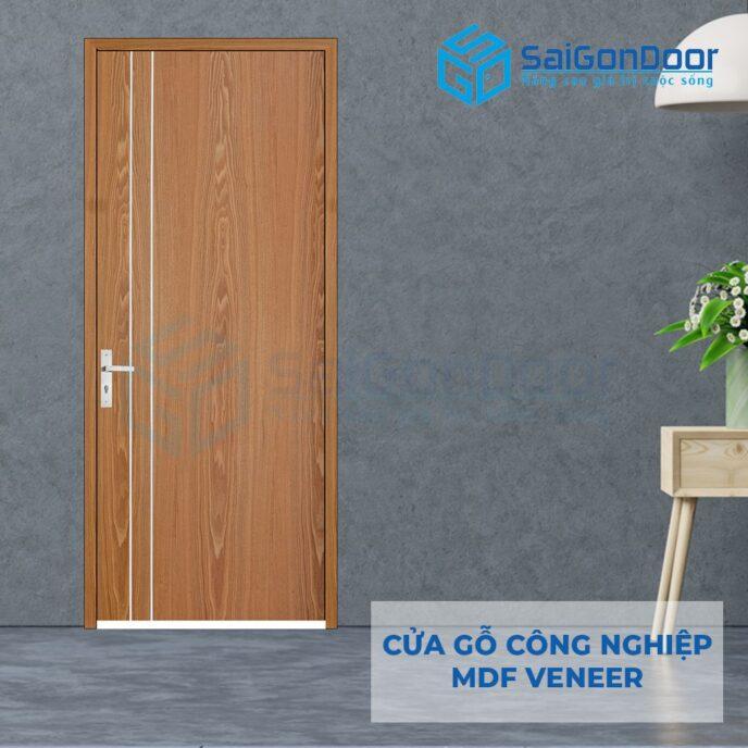 Cửa gỗ công nghiệp MDF Veneer P1R2 soi