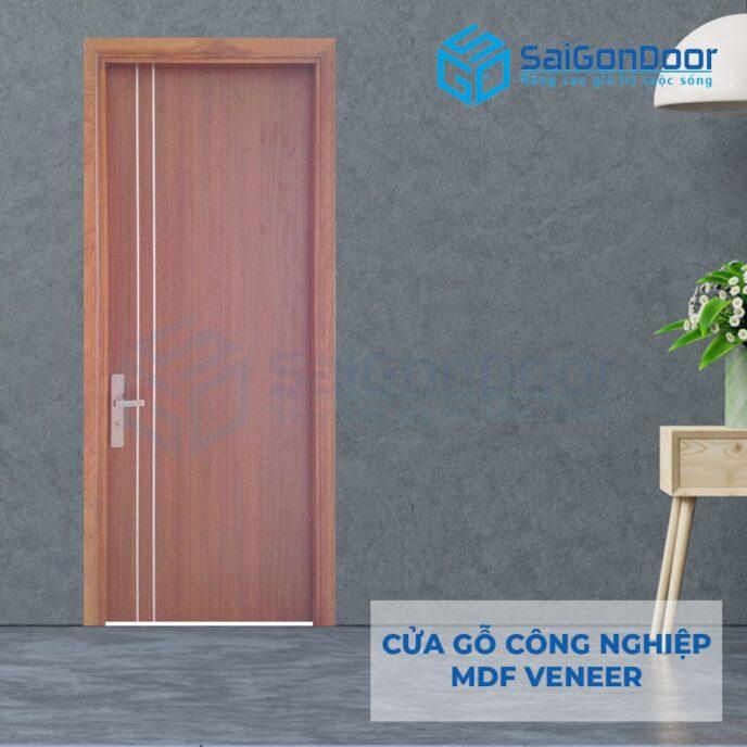 Cửa gỗ công nghiệp MDF Veneer P1R2 xoan dao 3