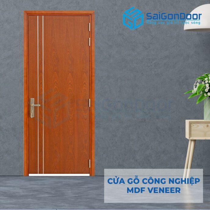 Cửa gỗ công nghiệp MDF Veneer P1R2 xoan dao 4