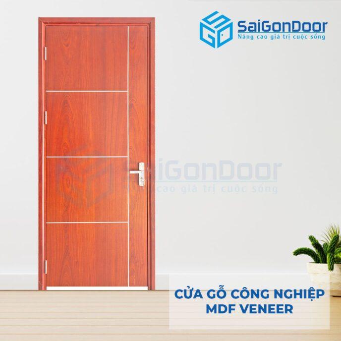 Cửa gỗ công nghiệp MDF Veneer P1R4b xoan dao 2