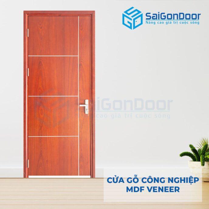 Cửa gỗ công nghiệp MDF Veneer P1R4b xoan dao 4