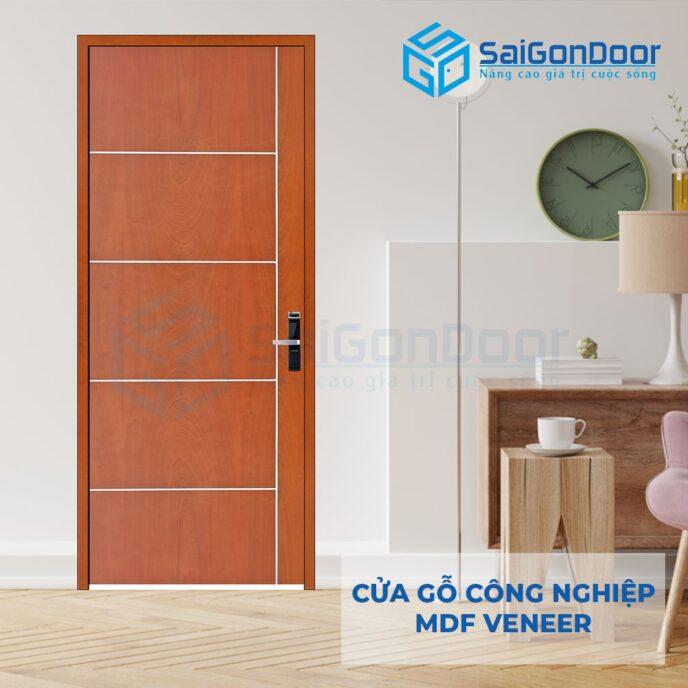 Cửa gỗ công nghiệp MDF Veneer P1R5 xoan dao 2