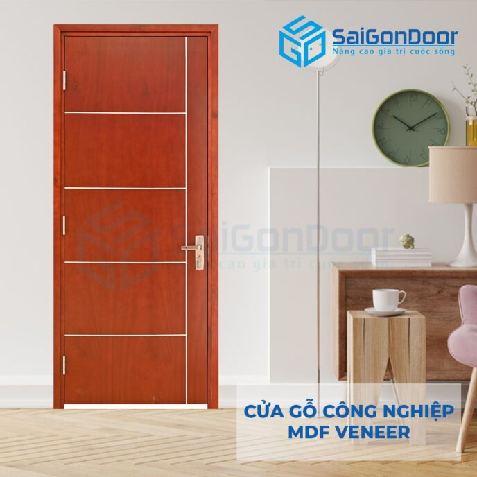 Cửa gỗ công nghiệp MDF Veneer P1R5 xoan dao 3