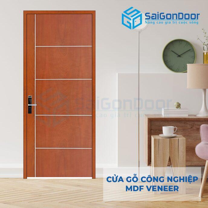 Cửa gỗ công nghiệp MDF Veneer P1R5 xoan dao 4