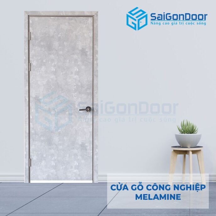 Cửa gỗ phòng ngủ MDF melamine P1 van da