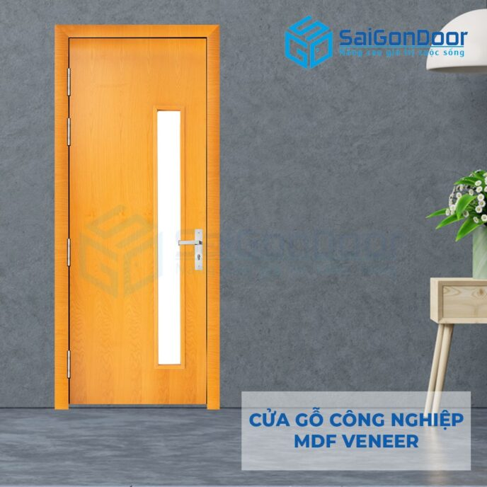 Cửa gỗ công nghiệp MDF Veneer P1G1 soi