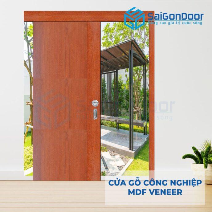 Cửa gỗ công nghiệp MDF Veneer lua truot MDF P1-4